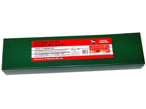 "22 pc 1//4/"" Dr Chrome Socket Ratchet Handle extension bar Universal joint set SAE"