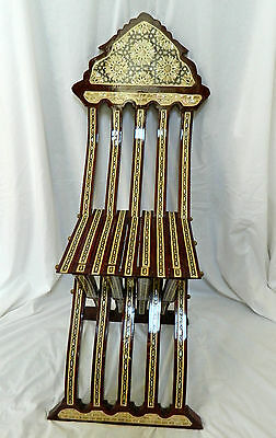 Egyptian Handmade Brown Inlaid Mother of Pearl Folding Wood Chair Piece of Art