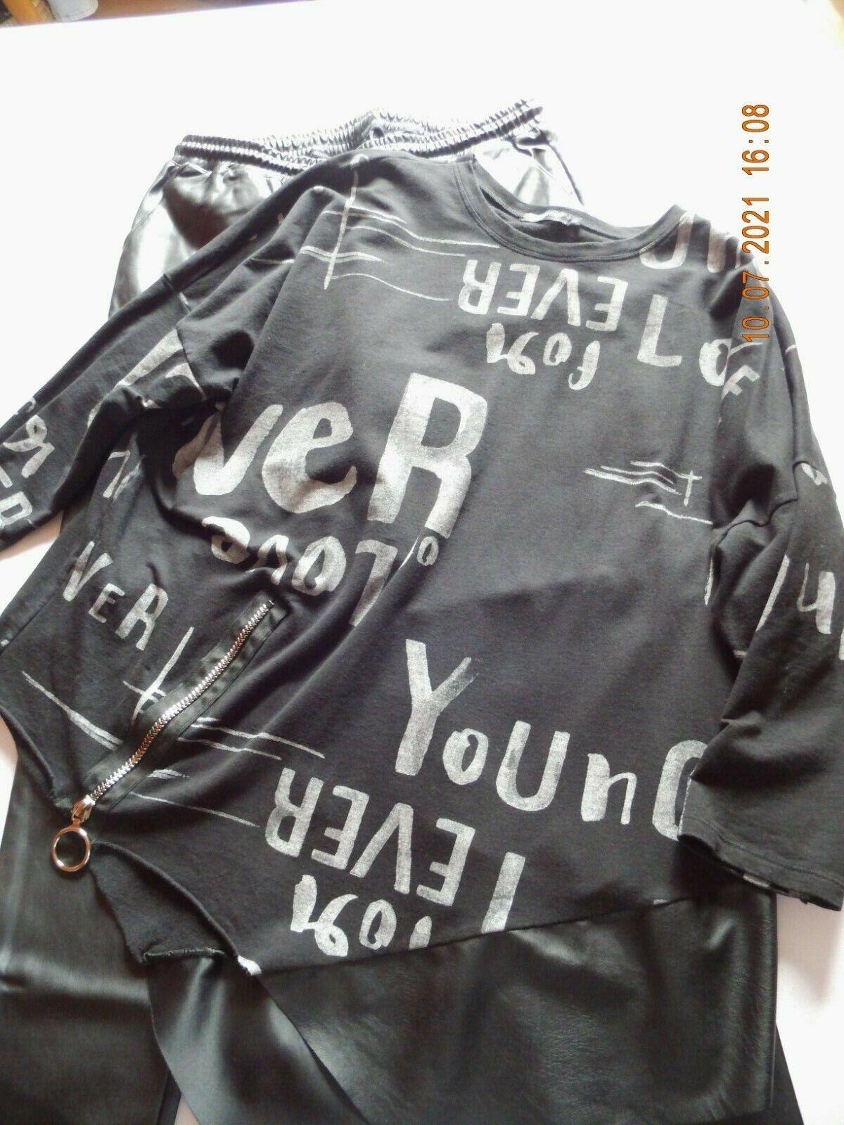 Kunstleder - Jogpants mit Sweaty, Made in Italy, Lagenlook, schwarz/grau,44/46