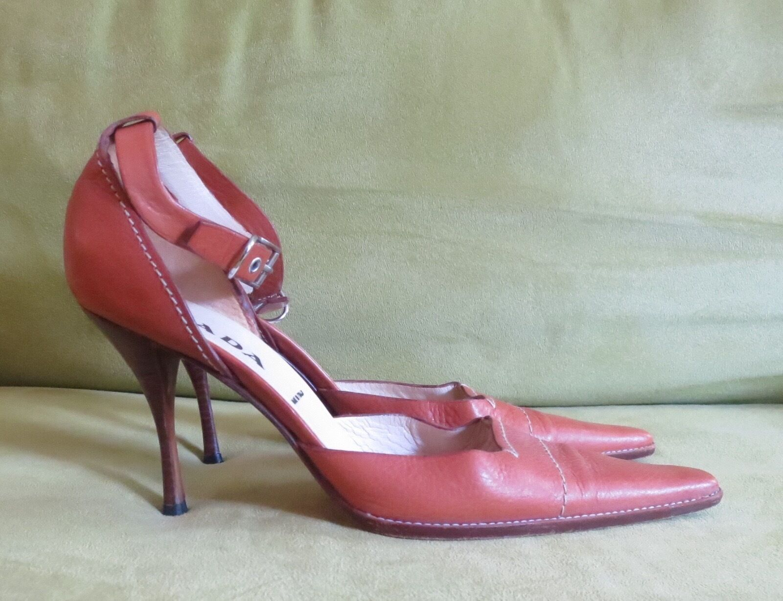 Prada saddle tan leather buckle strap high heel sandals scarpe pointed toe 38 8