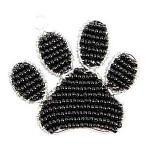 Audacieux Beadworx-paw Print Porte-clés - Perles Travail Populaire Perles De Verre-afficher Le Titre D'origine AgréAble à GoûTer