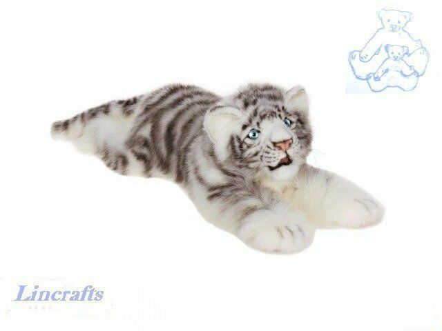 Hansa Cuddly Lying White Tiger 4675 Soft Toy Sold by Lincrafts Established 1993
