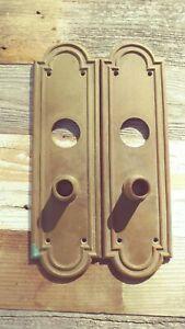 Antique-Set-of-Back-Plates-for-Door-Knobs-10-1-2-034-x-3-034-Pressed-Metal-Back-Plate