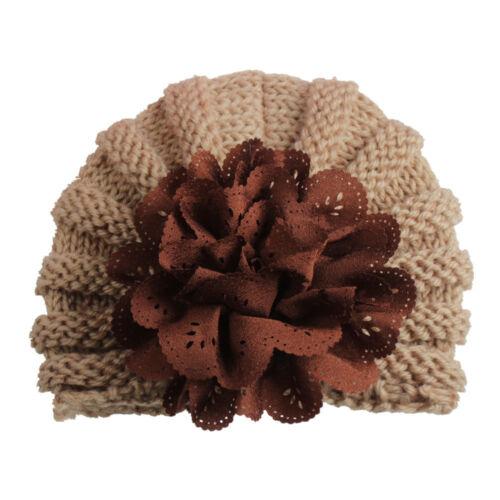 Fashion Newborn Toddler Kids Baby Girl Turban Flower Kint Beanie Hat Winter Cap