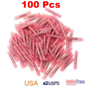100-pcs-Red-22-18-GA-Heat-Shrink-Adhesive-Glue-Butt-Wire-Connector-Terminals