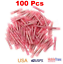 100-pcs-Red-22-18-GA-Heat-Shrink-Adhesive-Glue-Butt-Wire-Connector-Terminals thumbnail 1