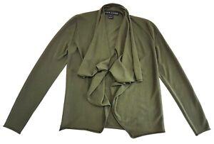 Ralph-Lauren-Black-Label-Green-Open-Front-Cashmere-Silk-Sweater-Size-S-Womens