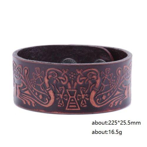 Irish Birds Embossed Leather Jewelry Cuffs Bracelets For Women Men Wrist Band
