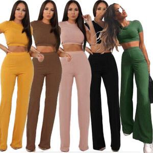 1a2975be7d Details about Women's 2 Piece Outfits Rib-knit Crop Top Wide Leg Long Pants  Set Jumpsuit