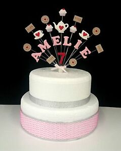 Image Is Loading Tea Party Birthday Cake Topper Decoration Personalised Any