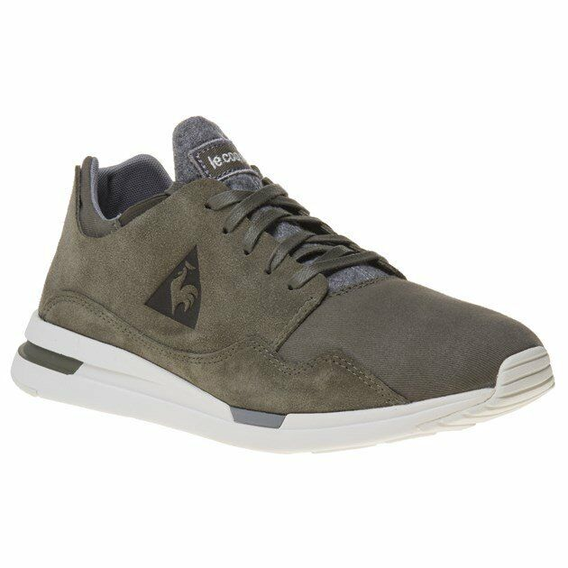 New Mens Le Coq Sportif Green Khaki R Pure Suede Trainers Running Style Lace Up