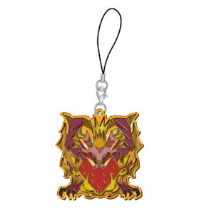 Monster-Hunter-Teostra-Arch-Tempered-Stained-Glass-Metal-Phone-Strap-NEW