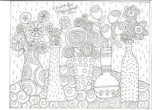 RUG-HOOK-CRAFT-PAPER-PATTERN-5-Flower-Pots-FOLK-ART-PRIMITIVE-Karla-Gerard