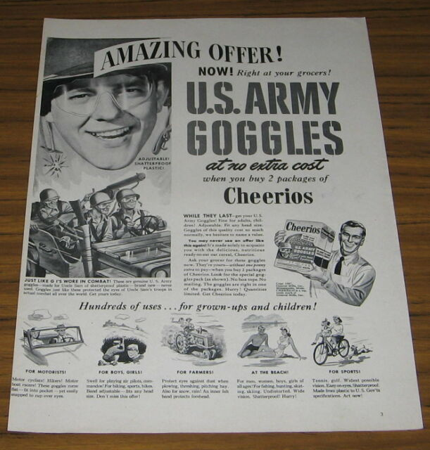 1947 vintage ad cheerios real us army goggles in box of cereal ebay