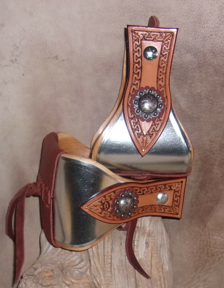 New Wide USA Made  Metal Bound Bell Stirrups 5  + Berry Conchos Hand Tooled. G&E  good reputation