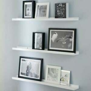 White Wooden Photo Wall Shelves Hanging Shelf Floating Home Display Ledges Unit Ebay