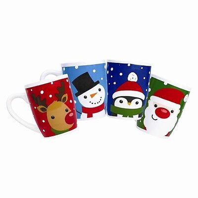 6 x Christmas Ceramic Mug Set - Santa - Snowman - Rudolph Reindeer Xmas Cups x