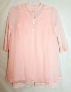 Vtg Vanity Fair Pink Sheer Nylon Chiffon Lace Peignoir Robe Nightgown Pinup Chic