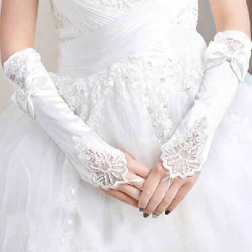 Women Party Bridal Wedding Fingerless Lace Stretch Satin Bowknot White Gloves US