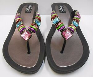 dd5ec3662 GRANDCO SANDALS WEDGE HEEL Rainbow THONG BLING Black JEWELED DRESSY ...
