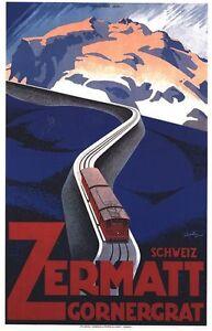 Vintage Zermatt Switzerland Mountain Railway Poster A3//A2//A1 Print