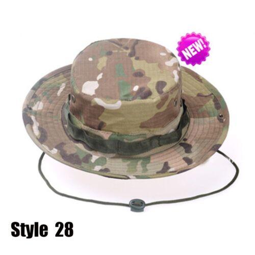 Outdoor Hunting Wide Brim Cowboy Camo Military Tactics Sun Men Cap Bucket Hat