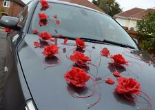 wedding car decoration, ribbon, bows, prom limousine decoration , red petals
