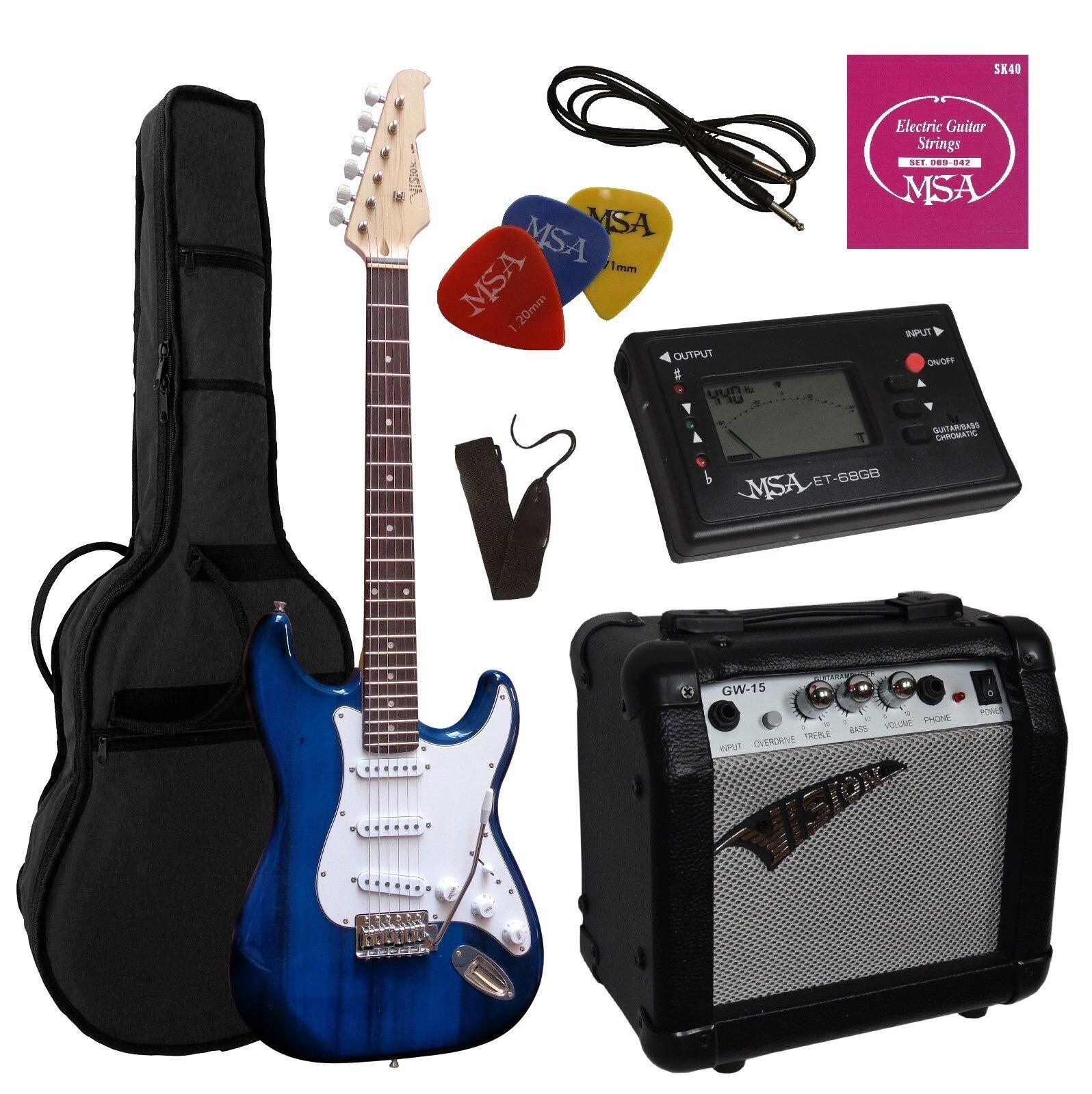 E-Gitarre ST5 dunkelblau, Set - Stimmgerät -Verstärker -Verstärker -Verstärker GW15,Tasche,Band,Kabel 5b57fc