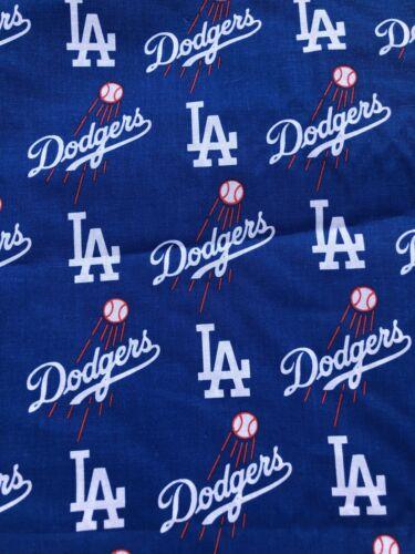 "MLB Los Angeles LA Dodgers Blue Logo Baseball Cotton Fabric 1//4 Yard 9"" X 58"""