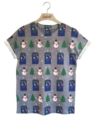 BATCH1 UNOFFICIAL CHRISTMAS TARDIS SNOWMAN DOCTOR WHO ALL OVER PRINT T-SHIRT