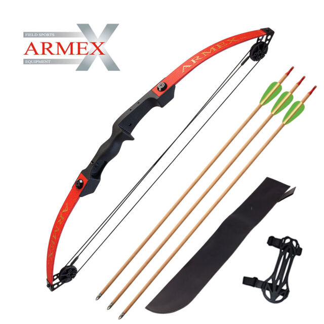 Armex New Compound Bow 25lb draw with Arrows Quiver /& Arm Guard Compound Kit !!