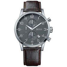 Original Hugo Boss HB1512570  AEROLINER Chronograph Herrenuhr Leder Braun NEU!