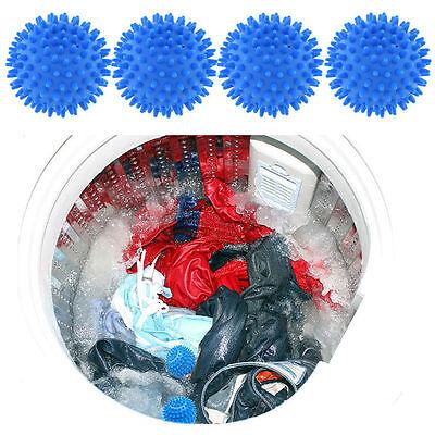 4x Blue Dryer Balls Washing Laundry Drying Fabric Fabrics Softener No Chemicals