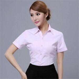 Women Business Attire Work Shirts Short-sleeve Shirt Slim Contracted ... ecbd2a2ba