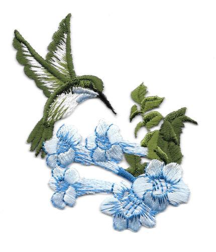 Hummingbird Bird Embroidered Iron On Patch Garden R L Blue Flower