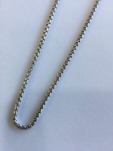 24-Inches-Mens-Ladies-White-Gold-GP-925-Sterling-Silver-Box-Franco-Italy-Chain