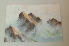 Ocean Waves on Rocks with Gulls W/C Painting-1970s-Frank Zuccarelli-LIsted N.J.