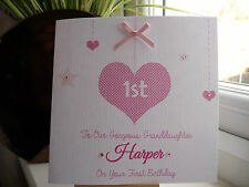 Handmade Personalised 1st Birthday Card First 2 3 4 Girls Daughter Granddaughter