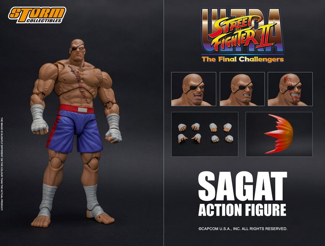 Storm Toys 1 12th Street Fighter Sagat figurine avec 4 têtes collection
