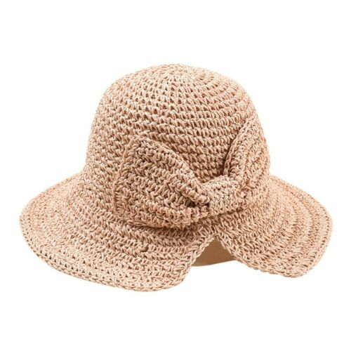 Bow-knot Sun Hats Wide Brim Women Beach Panama Straw Hats Bucket Hat Shade Cap