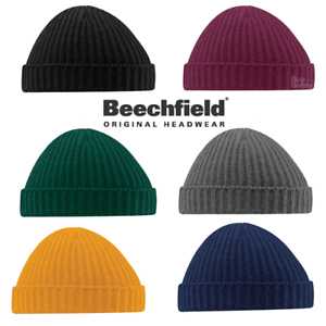 fd95f7d59 Details about Beechfield BEANIE HAT FISHERMAN TRAWLER STYLE RETRO VINTAGE  HIPSTER LOOK KNITTED
