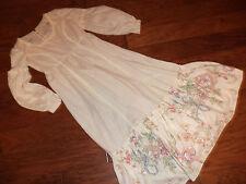Victorian PRAIRIE PIONEER western frontier cream sundress dress costume 8/9