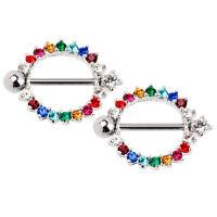 Nipple Shields Ring Rainbow Gems Round 14g 5/8