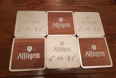 6 x Affligem Belgium Beer metal beer coasters with rubber inlay new