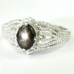 BLACK-STAR-SAPPHIRE-Sterling-Silver-Ladies-Ring-Handmade-SR365