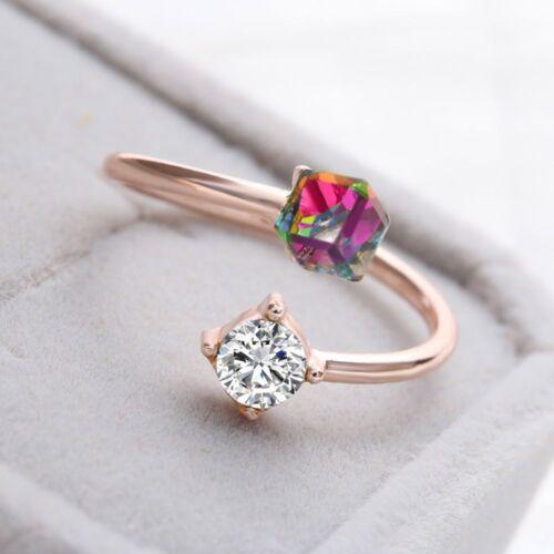 Femmes plaquées ajustable Engagement Fashion Cube Crystal Colorful Finger Ring