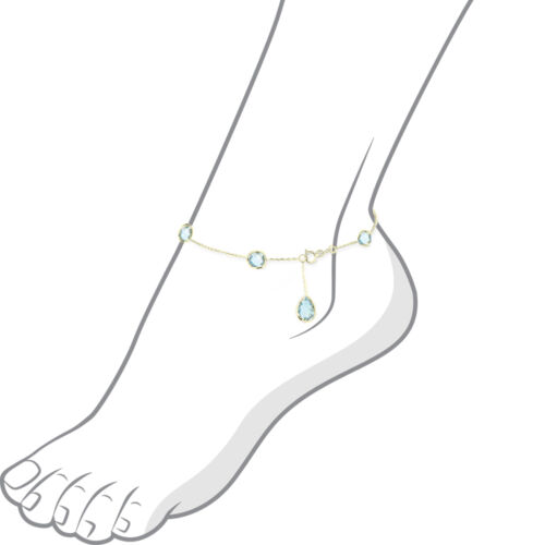 14K Yellow Gold Anklet With Blue Topaz Pear Shaped Drop 10.5 Inches