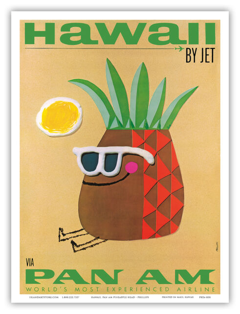 Pan Am HAWAII Pineapple - Phillips - Vintage Airline Travel Poster Print