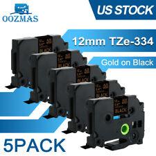 5pk Tz 334 Tze 334 Pt D210 Compatible Label Maker Tape 12mm For Brother P Touch