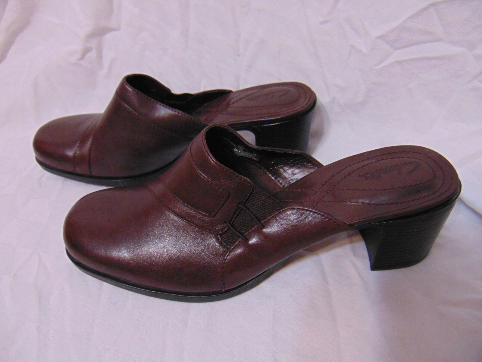 Clarks Womens Shoes Mules Slides Chunky Heel Shoes Womens 8.M Dark Brown Leather Style 71024 c3f287
